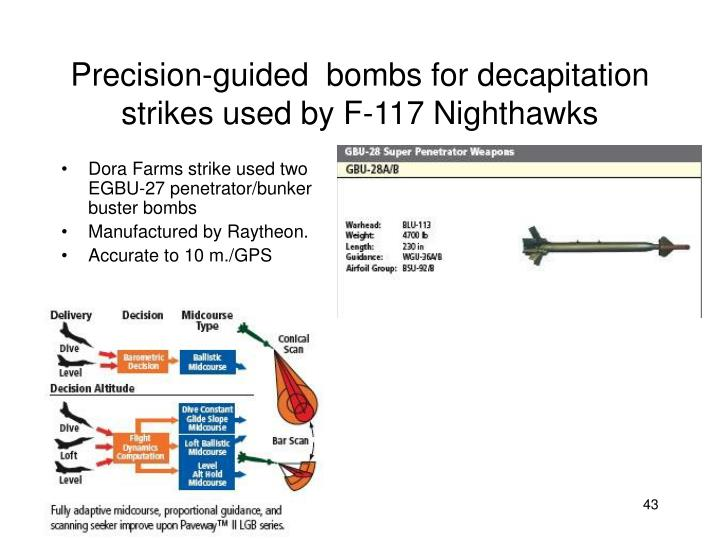 Precision-guided  bombs for decapitation strikes used by F-117 Nighthawks