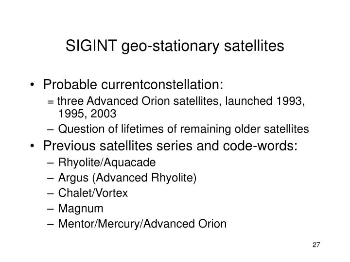 SIGINT geo-stationary satellites