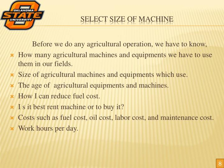 Before we do any agricultural operation, we have to know,