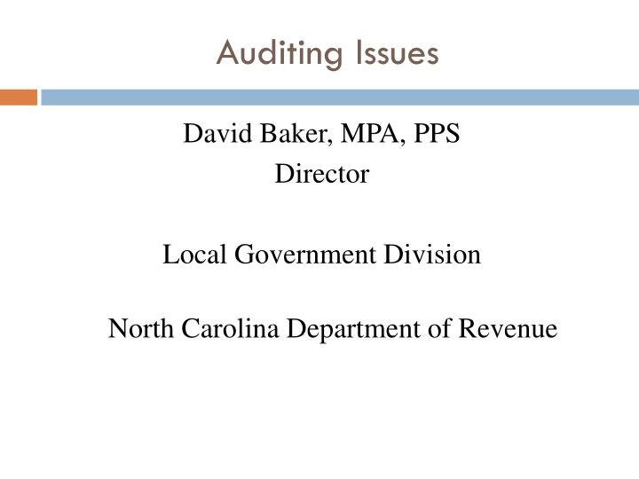 Auditing Issues