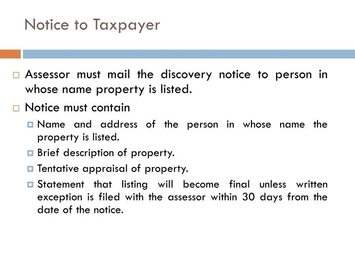 Notice to Taxpayer