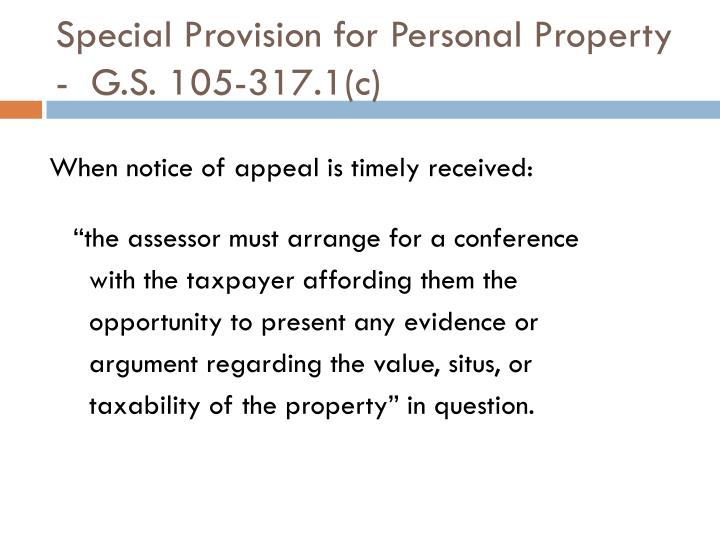 Special Provision for Personal Property  -  G.S. 105-317.1(c)