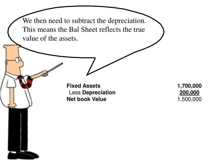 We then need to subtract the depreciation.  This means the Bal Sheet reflects the true value of the assets.