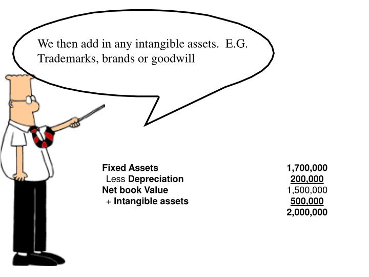 We then add in any intangible assets.  E.G. Trademarks, brands or goodwill