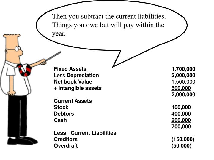 Then you subtract the current liabilities.  Things you owe but will pay within the year.