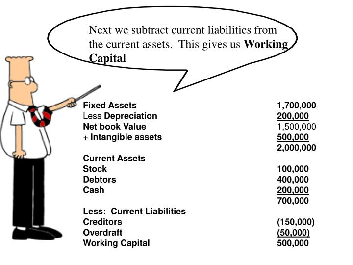Next we subtract current liabilities from the current assets.  This gives us