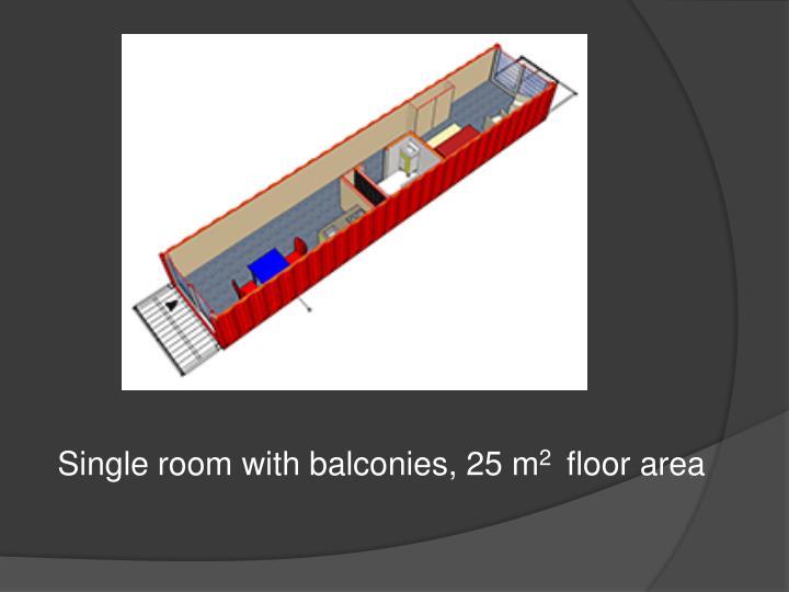 Single room with balconies, 25 m