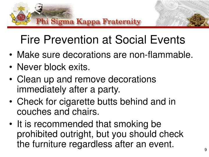 Fire Prevention at Social Events