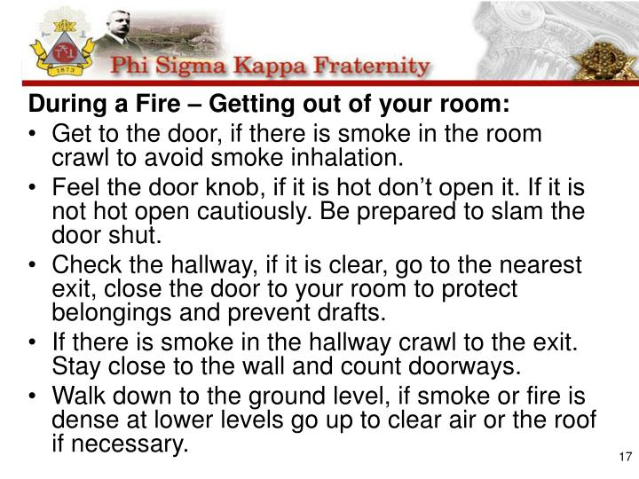 During a Fire – Getting out of your room:
