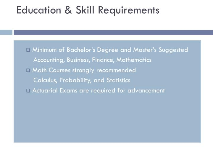 Education & Skill Requirements