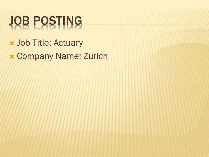 Job Title: Actuary