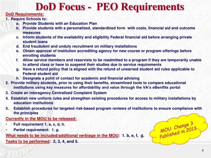 DoD Focus -  PEO Requirements