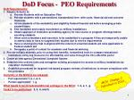 dod focus peo requirements