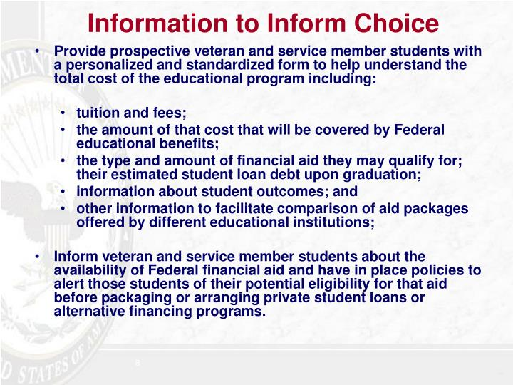 Information to Inform Choice