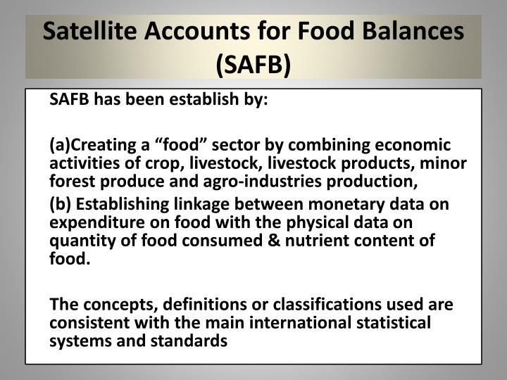 Satellite Accounts for Food Balances (SAFB)