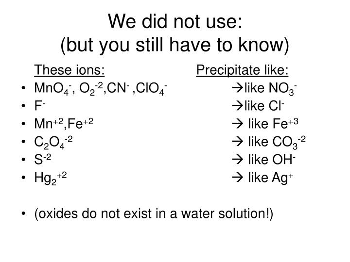 We did not use: