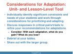 considerations for adaptation unit and lesson level tool