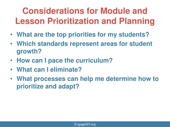 Considerations for Module and Lesson Prioritization and Planning