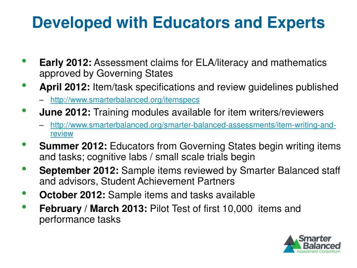 Developed with Educators and Experts
