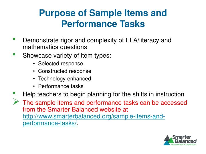 Purpose of Sample Items and Performance Tasks