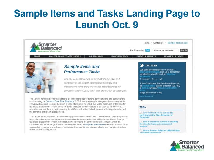 Sample Items and Tasks Landing Page to Launch Oct. 9