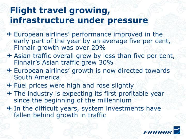 Flight travel growing,
