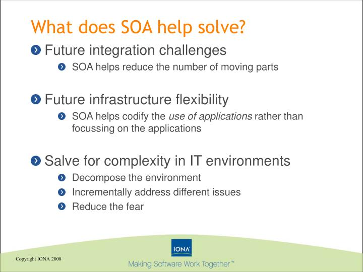 What does SOA help solve?