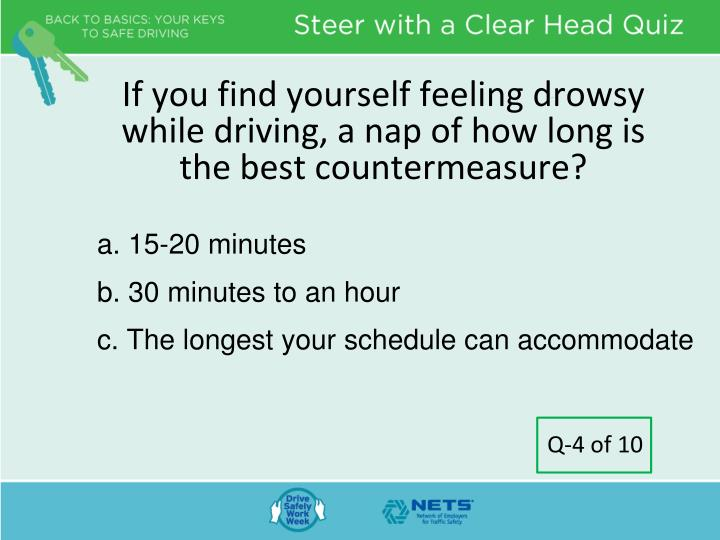 If you find yourself feeling drowsy while driving, a nap of how long is the best countermeasure?