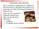 determine serving sizes