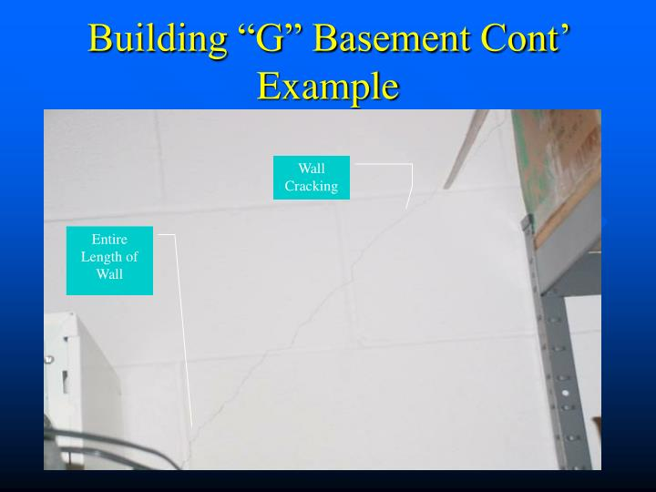 "Building ""G"" Basement Cont' Example"