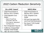 2022 carbon reduction sensitivity