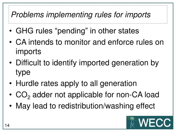 Problems implementing rules for imports