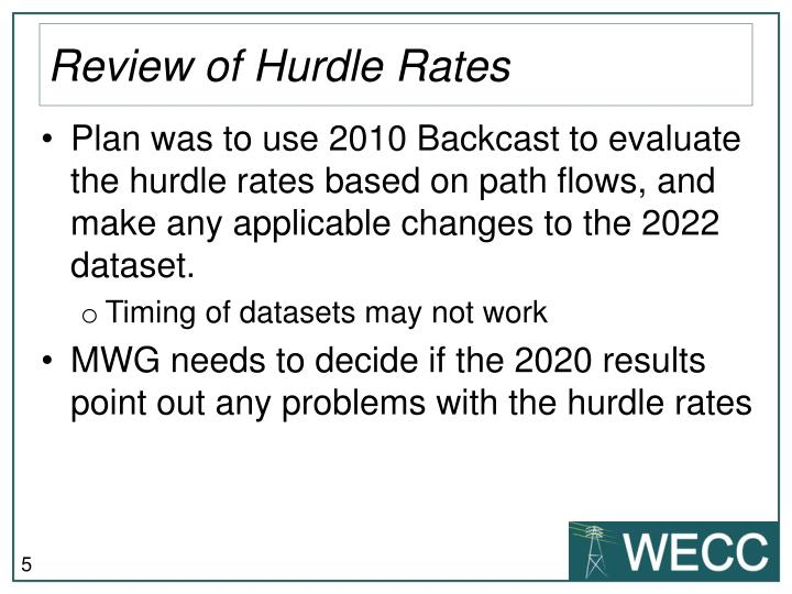 Review of Hurdle Rates
