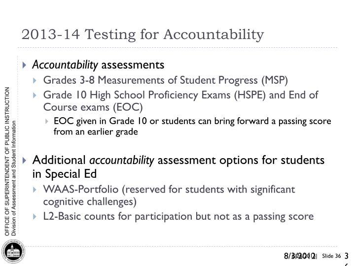 2013-14 Testing for Accountability