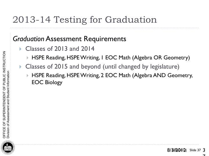 2013-14 Testing for Graduation