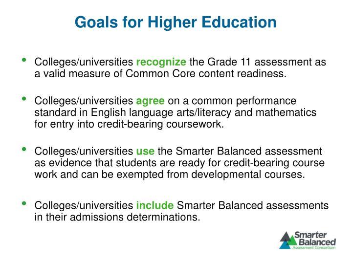 Goals for Higher Education