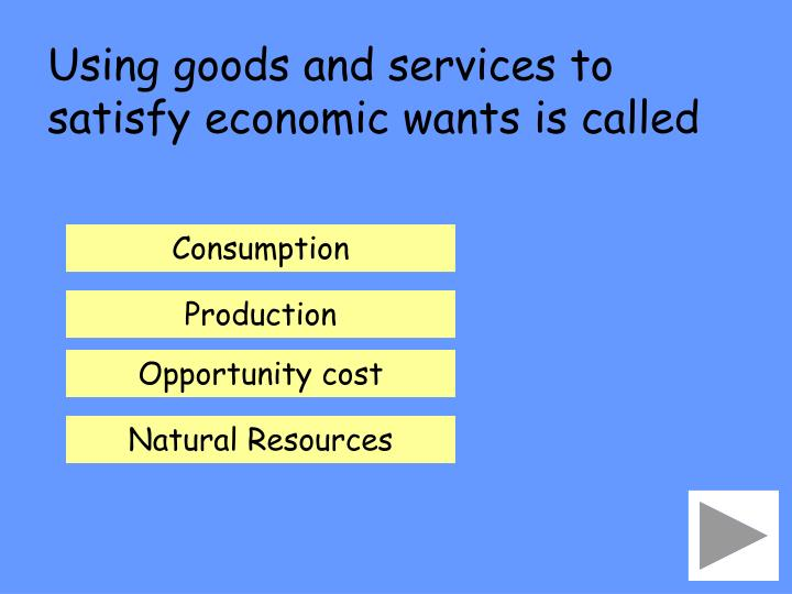Using goods and services to satisfy economic wants is called