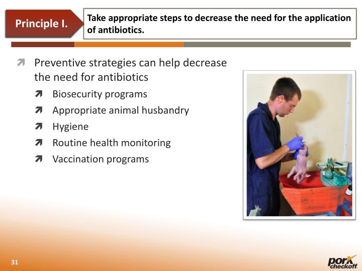 Take appropriate steps to decrease the need for the application of antibiotics.