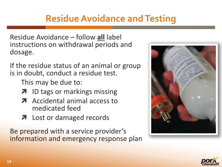 Residue Avoidance and Testing