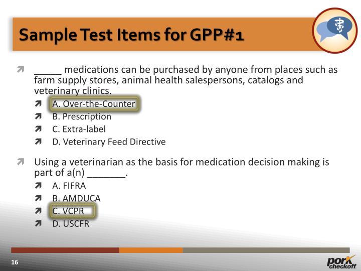 Sample Test Items for GPP#1