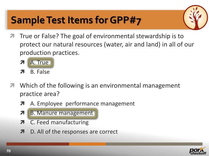 Sample Test Items for GPP#7