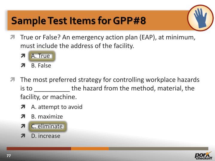 Sample Test Items for GPP#8