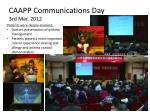 caapp communications day 3rd mar 2012