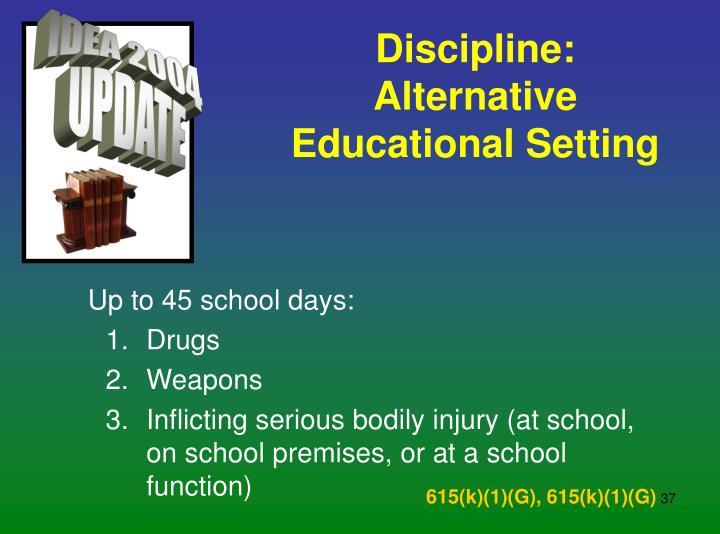 Discipline:  Alternative Educational Setting