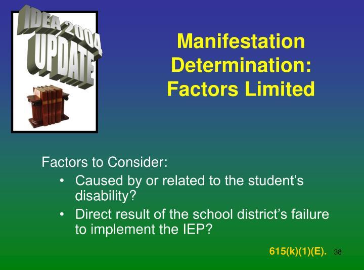Manifestation Determination: Factors Limited