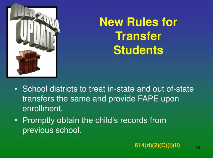 New Rules for Transfer Students