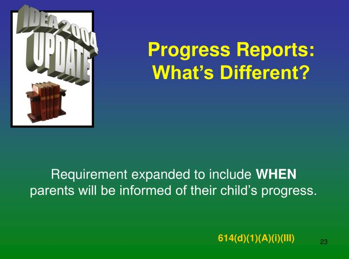 Progress Reports: What's Different?