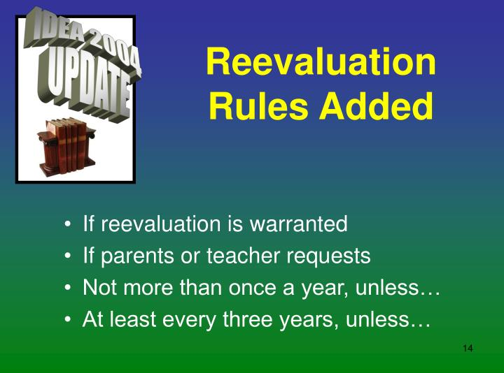 Reevaluation Rules Added