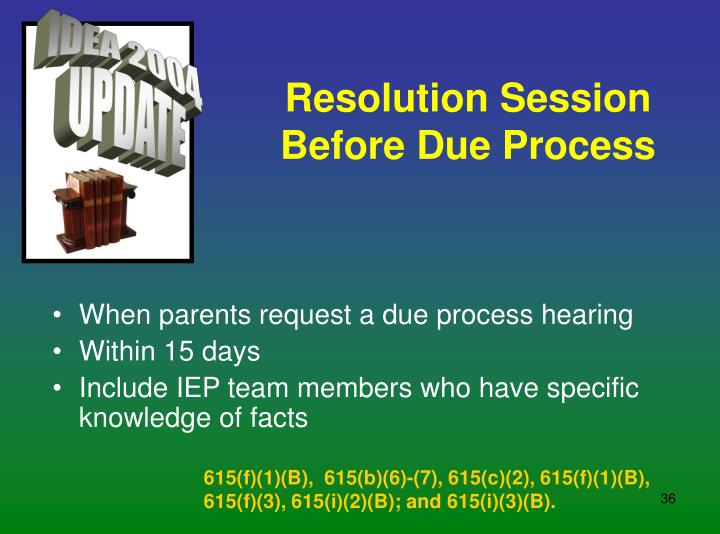 Resolution Session Before Due Process