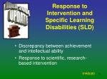 response to intervention and specific learning disabilities sld